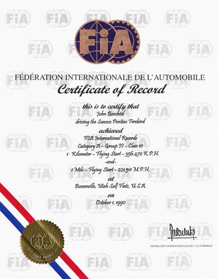 FIA Record Certificate